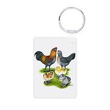 Ameraucana Chicken Family Keychains