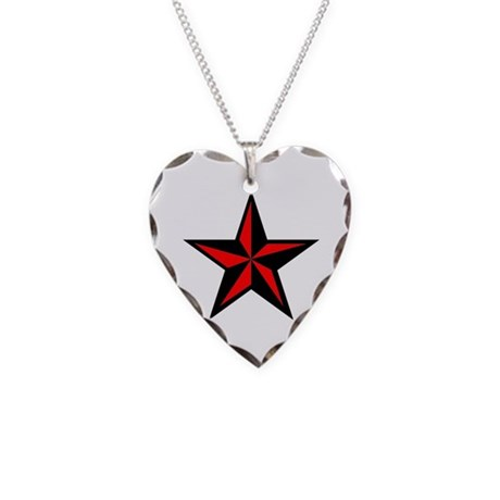 Punk Rock Red Nautical Star Necklace Heart Charm
