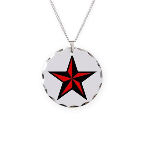 Punk Rock Red Nautical Star Necklace Circle Charm
