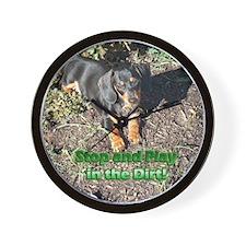 Play in the Dirt Dachshund Dog Wall Clock