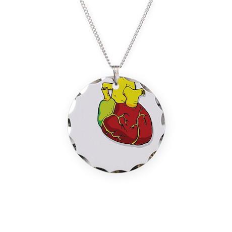 Human Heart Necklace Circle Charm