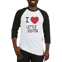 I heart little sister Baseball Jersey