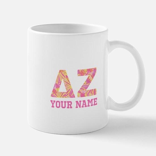 Delta Zeta Pink Yellow Letters P Mug