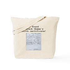 Obama Birth Certificate - Tote Bag