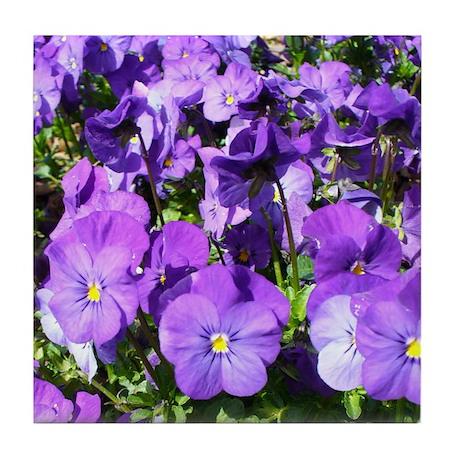 Purple Pansies Tile Coaster