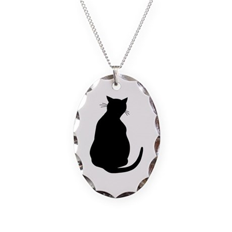 Black Cat Necklace Oval Charm