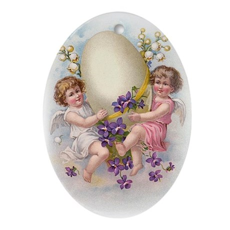 Victorian Easter Egg Oval Ornament
