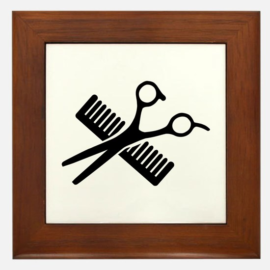 Comb & Scissors Framed Tile