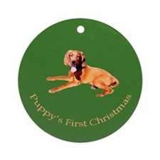 Puppy's First Christmas Ornament (Round)