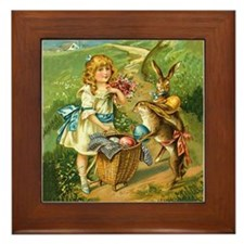 Victorian Girl and Easter Rab Framed Tile