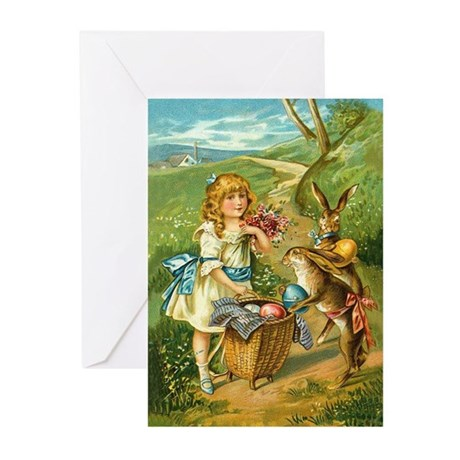Victorian Girl and Easter Rab Greeting Cards (Pack