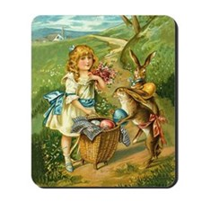 Victorian Girl and Easter Rab Mousepad