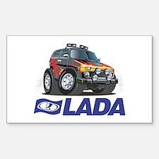 Cool Lada Niva with Lada Logo Sticker (Rectangle)