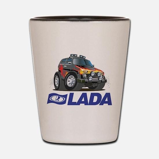 Cool Lada Niva with Lada Logo Shot Glass