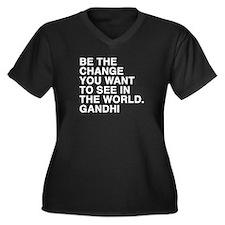 gandhi quotes Women's Plus Size V-Neck Dark T-Shir