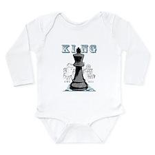 Black King Chess Mate Long Sleeve Infant Bodysuit