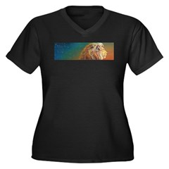Quiet Lion Women's Plus Size V-Neck Dark T-Shirt