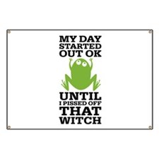 Funny Frog Mean Witch Banner
