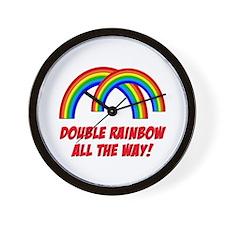 Double Rainbow All The Way Wall Clock
