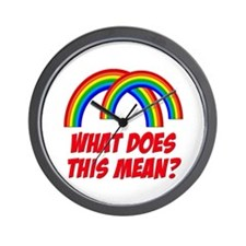 Double Rainbow What Does This Mean? Wall Clock