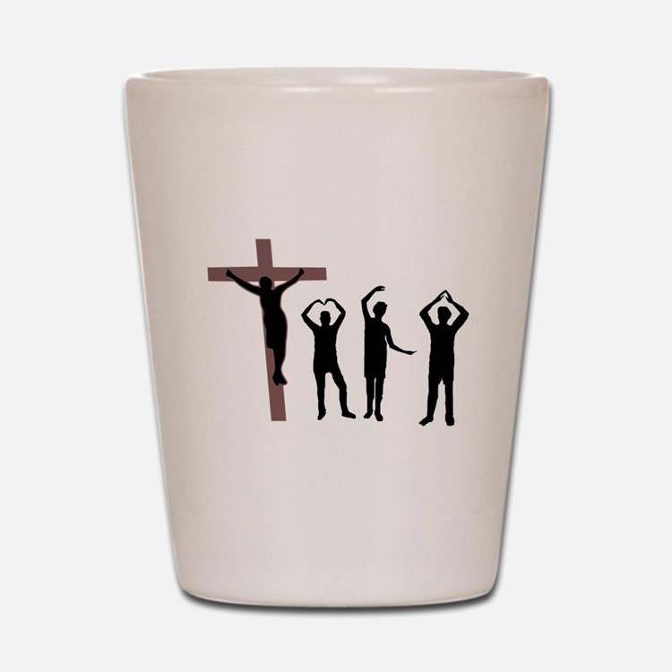 Jesus dancing YMCA Shot Glass