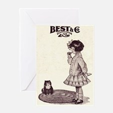 Vintage Girl and Kitty Greeting Card