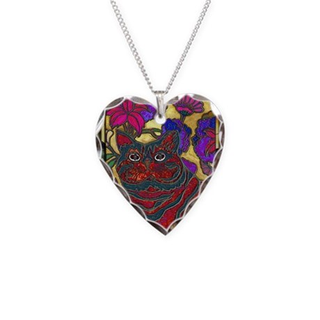 Cat and Flowers Art Necklace Heart Charm