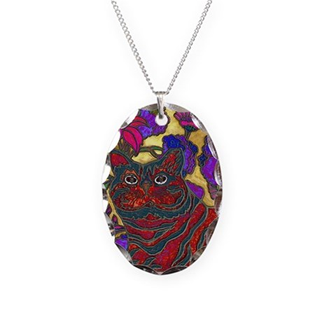 Cat and Flowers Art Necklace Oval Charm