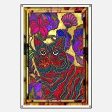 Cat and Flowers Art Banner