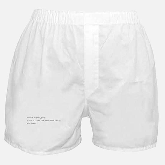 The sql middle finger Boxer Shorts