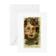 Conte Crayon Drawing Portrait Card Greeting Cards
