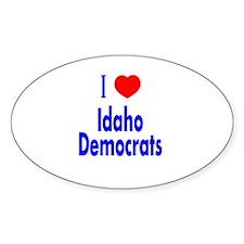 I Love Heart Idaho Democrats Oval Decal