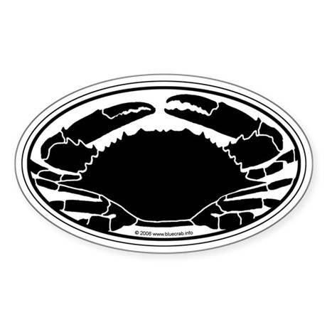 Crab Sticker B/W (Oval)