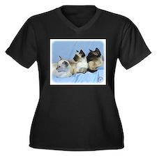 Siamese Cat 9W055D-074 Women's Plus Size V-Neck Da