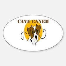 Cave Canem (Jack Russell) Oval Decal