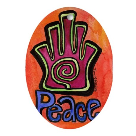 Spiral Hamsa Peace Oval Ornament