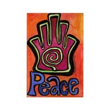 Spiral Hamsa Peace Rectangle Magnet