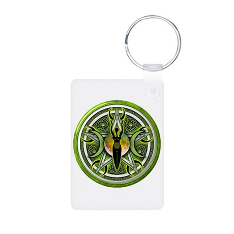 Pentacle of the Green Goddess Aluminum Photo Keych