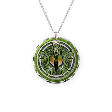 Pentacle of the Green Goddess Necklace Circle Char