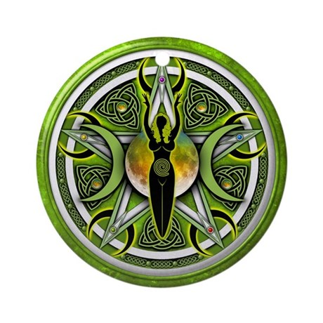 Pentacle of the Green Goddess Ornament (Round)