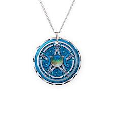 Blue Triple Goddess Pentacle Necklace Circle Charm