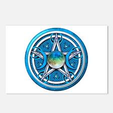 Blue Triple Goddess Pentacle Postcards (Package of