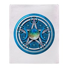 Blue Triple Goddess Pentacle Throw Blanket