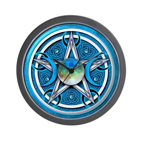 Blue Triple Goddess Pentacle Wall Clock