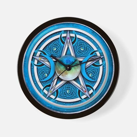 Blue Triple Goddess Pentacle Wall Clock