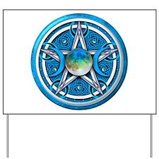 Blue Triple Goddess Pentacle Yard Sign