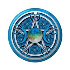 Blue Triple Goddess Pentacle Ornament (Round)
