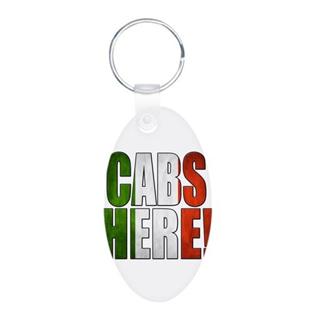 CABS HERE 2 Aluminum Oval Keychain