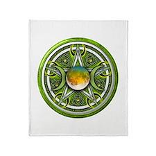 Green Triple Goddess Pentacle Throw Blanket