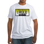 I Rule NJ Vanity Plate Fitted T-Shirt
